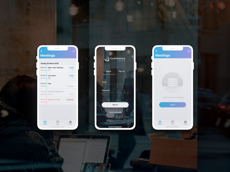 Professional meetings application conference room conference meeting app ui ux