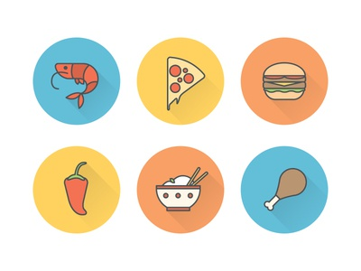 Food Icons comeya food icons pizza chicken burger flat design icon app mobile