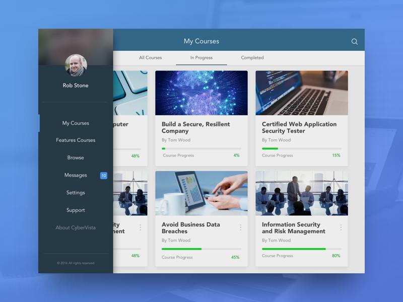 Courses - iPad UI menu progress security courses ui ipad design