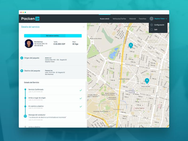 Packen UI - Web App ui service delivery steps loading map web app design