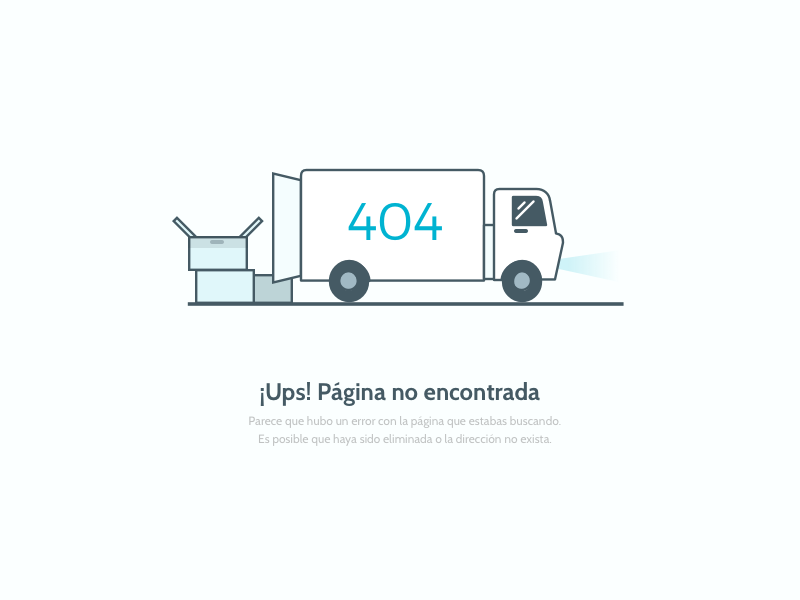 404 - Packen koombea outline illustration page 404 error packen truck web app design