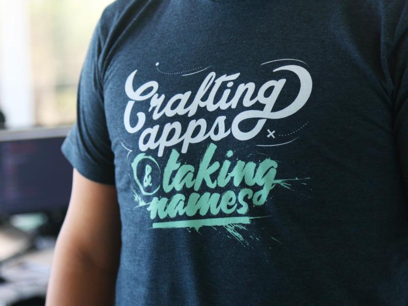 Crafting apps & taking names lettering design names taking apps crafting swag koombea t-shirt