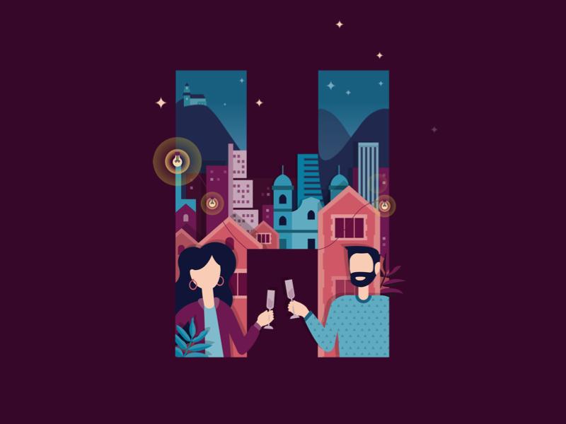 Huge BOG | Year-end Party 18 mailing poster invitation huge illustration design skyline design illustration bogota