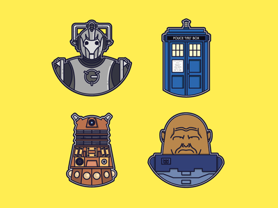 Doctor Who set of icons dalek tardis graphicdesign design graphic illustration digital vector icon doctorwho