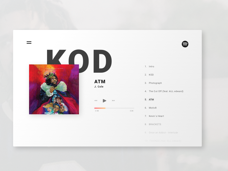 J. Coles Album Page to KOD design clean ui daily kod page landing album j.cole dailyui