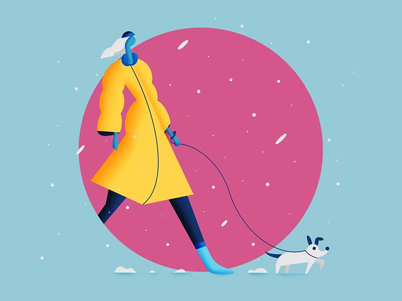 Winter Walk 2d flat design clean character illustration character 2d flat illustration geometric illustration