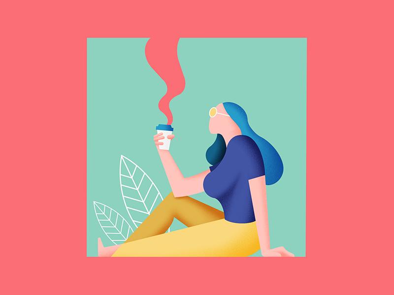 Sunday Morning Coffee 2d flat illustration 2d flat design character illustration character geometric illustration