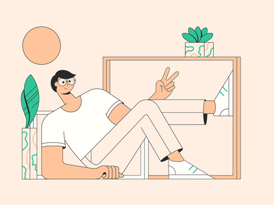 Hello! flat design flat illustrations man chilling flat character flat illustration website banner nature flat character 2d character illustration 2d flat illustration flat illustration geometric