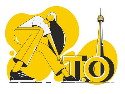 T.O (the 6ix) rebound black yellow to toronto raptors 416 the six toronto character illustration 2d flat illustration 2d flat geometric illustration
