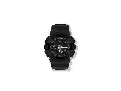 Watch vector black illustration time wristwatch watch