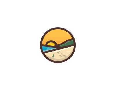 Beach design graphic icon vector illustration paradise mountain sand ocean sunset surf beach