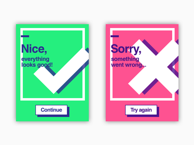 Success and Failure ux ui flash message flat green red card failure success dailyui