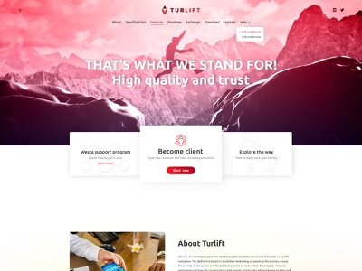 Turlift market currency layout exchange coin crypto web site landing page web design logo design landing