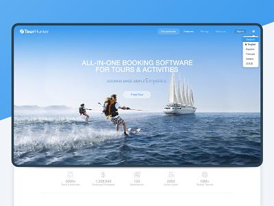 Tour Hunter Marketplace website layout landing page landing web design