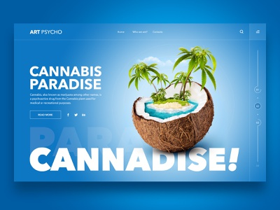 Web Design Inspiration - Cannadise cannabis website web design ux userinterface sea paradise palms layout island interface inspiration illustration design collage coconut cannadise beach art
