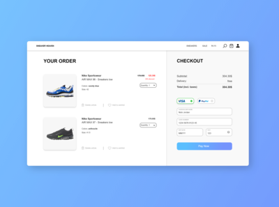 Credit card checkout challenge #dailyui #002