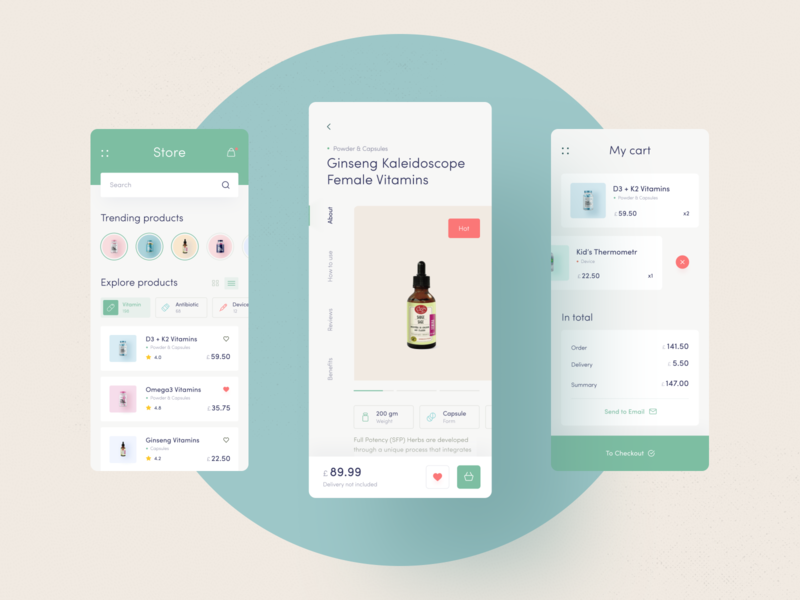 Medicine Store grid product card minimal geometry delete swap slider list search payment bill check price card cart filter stories vintage store medicine