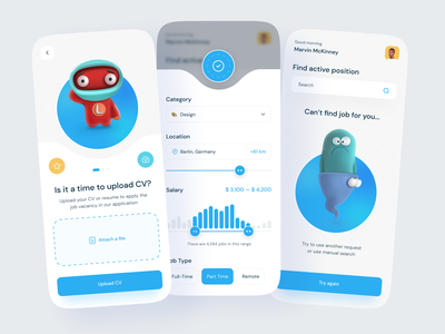 Job Finder App clean welcome page filter ui gradient selector category onboarding illustraion button profile error price popup 3d resume cv upload search filter