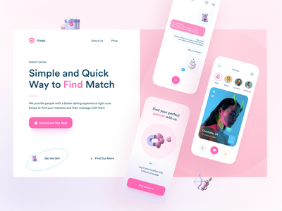 Dating App Promo Website profile slider grid rose landingpage onboarding ui onboard story swipe icons typogaphy chat illustraion 3d website tinder datingapp dating