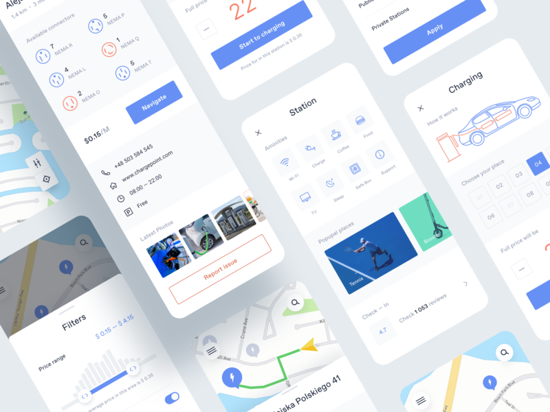 Application for electric cars station place cards navigation map filter slider card illustration graph car photo main typography grid interface web ui concept ux