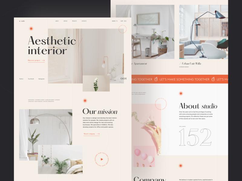 Wood Interior Studio Website main vector mainpage studio slider typography interface ui graphic clean concept layout photo interior grid