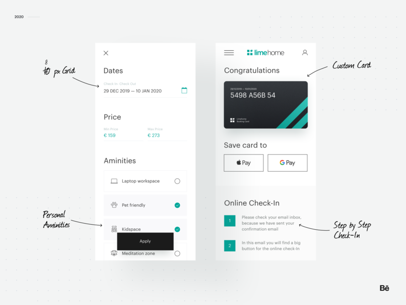 Limehome - Behance Case Study icon calendar radio button checkbox category page checkin creditcard mobile concept ux ui