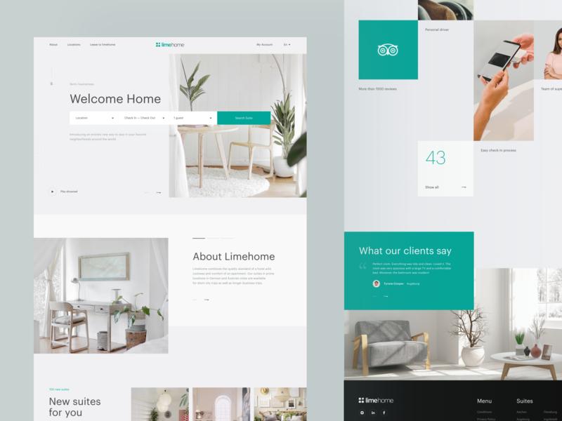 Limehome Desktop clean photo main typography web interface grid concept ux ui