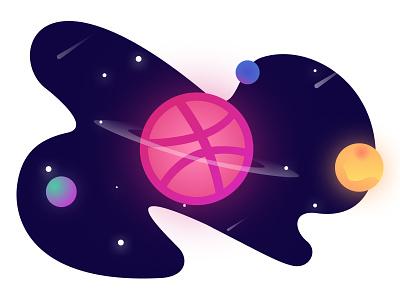 Hello Dribbble planet space illustration dribbble hello