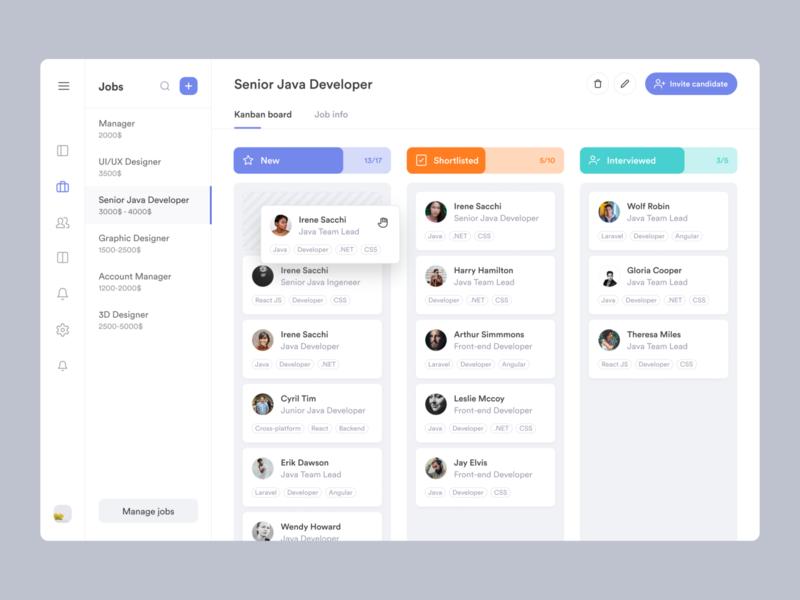 Kanban for Job Manager drag drag and drop move accept webapp app recruit profile list applicant dashboad management manager job kanban