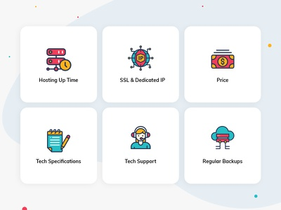 Hosting multicolor icons price disk backup requirement support server hosting
