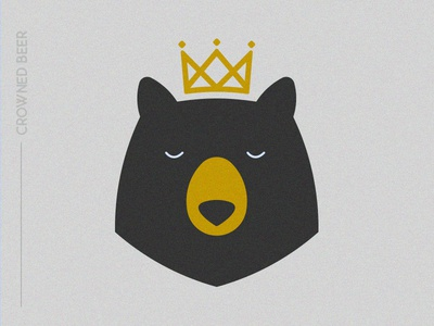 Crownedbear design icon flat animal animated bear caption