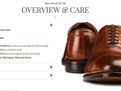 Product Detail Page - Overview & Care