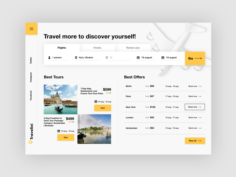 Travellini - easy travel from all! tourist way holiday fly yellow accent simple white travel web