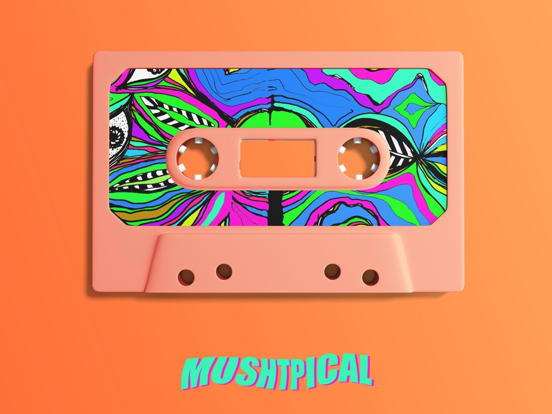 Mushtpical abstract cassette mockup vector design illustration