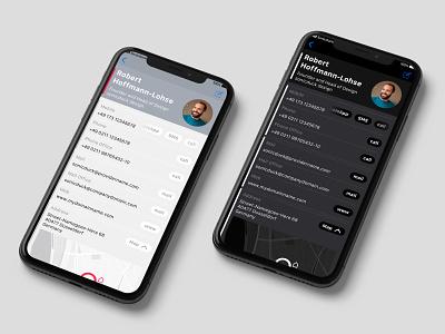Contacts App Redesign — black & white ux design uxdesign ux ui design uidesign ui iphone interfacedesign interface skin contact apple appdesign app
