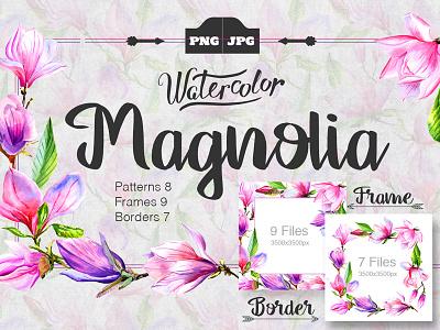 Flowers Png Magnolia patterns frame border set watercolor magnolia png flowers