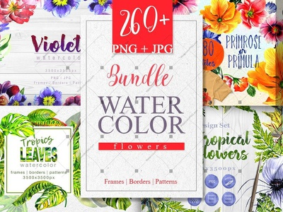 Bundle watercolor flowers 4 products, 260 files violet tropical watercolor sale bundle watercolopng