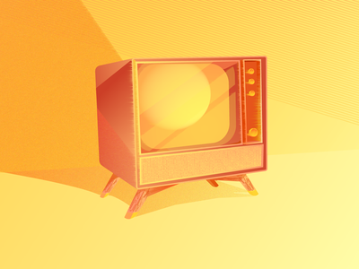 Retro Tv sunset orange illustration tv retro