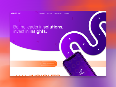 Landing Page flat design modern insights solutions crm app orange purple design daily ui landing page