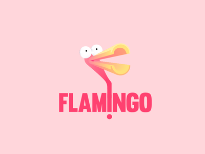 Flamingo pink logo design logo flamingo