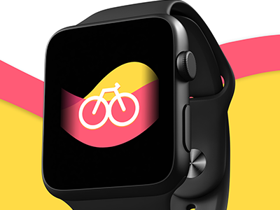 Bike Ride App apple content yellow pink ux apple watch design app design biking bike ride destination apple watch