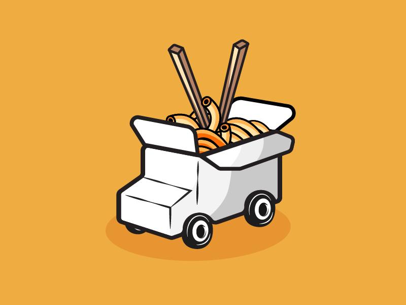 Food Truck china japan orange illustrator ui logo icon noodles food truck