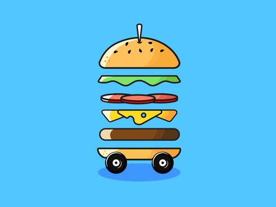 Burger On Wheels cartoon illustrator cute logo icon illustration burger