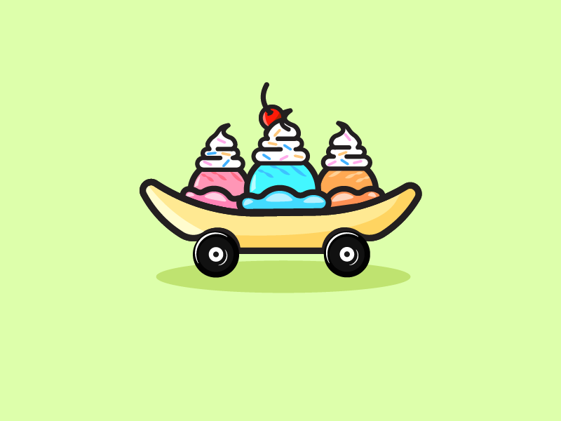 Banana On Wheels illustrator sticker logo icon cute banana