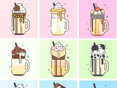 Milkshakes food art cute vector illustrated logo illustration icon