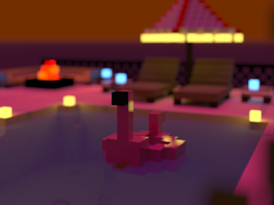 Penguin cute pink flamingo voxels 3d art illustration