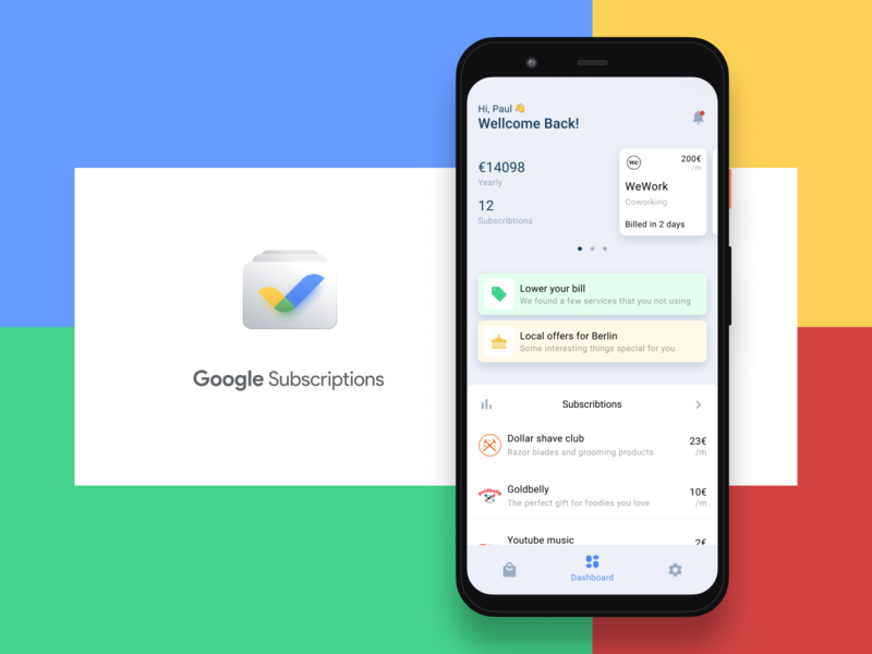 Google Subscriptions concept ux figma app mobile ui design concept subscription google