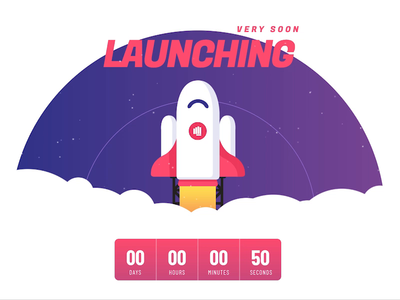 Launching Soon Countdown Animation illustration design template wordpress slider wordpress slider revolution animation rocket coming soon launching soon