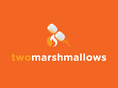 Two Marshmallows Logo simple flame camping fire marshmallows