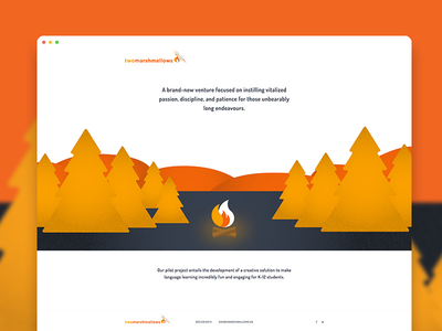 Two Marshmallows Landing Page startup marshmallows flame fire onepage landingpage